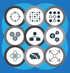 Set of 9 robotics icons includes mechanism parts vector