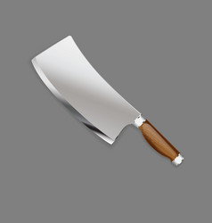 Hunting knife with wooden handle in a realistic vector