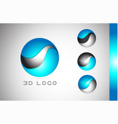 Corporate blue 3d sphere sign logo icon design vector