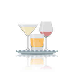 Flat icon of alcohol glass vector