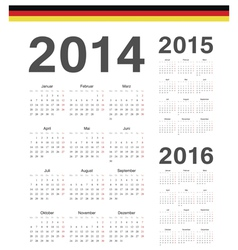 Set of german 2014 2015 2016 year calendars vector
