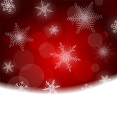 Christmas background - red with white snowflakes vector image