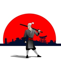 Samurai with sword vector