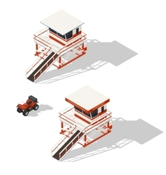 Lifeguard tower and quad bike isometric icons set vector