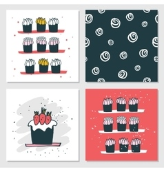 Cute cards delicious food dessert cupcake birthday vector