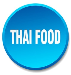 Thai food blue round flat isolated push button vector