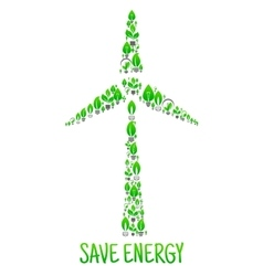 Save energy eco environment wind turbine vector