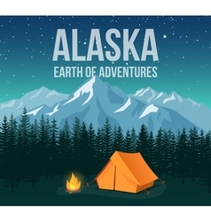 Alaska national park wildlife travel vintage vector image