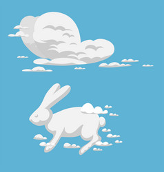 Animal clouds silhouette rabbit pattern vector