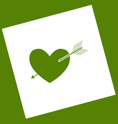 Arrow heart sign white icon obtained as a vector