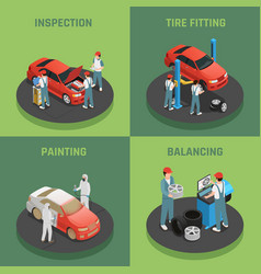 Autoservice 4 isometric concept icons vector