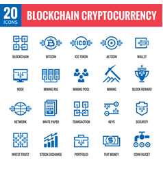 Blockchain cryptocurrency icons vector