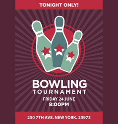 Bowling tournament contest rerto poster vector