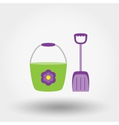 Bucket and shovel Flat icon vector image