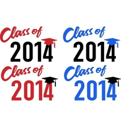 Class of 2014 school graduation cap vector