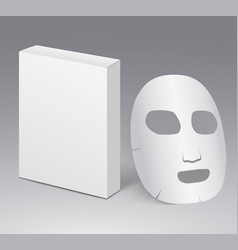 Cosmetic face mask with blank white package vector