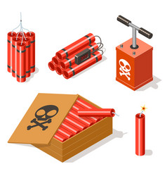 Dynamite icons set vector
