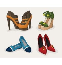 Fashion womans shoes collection vector