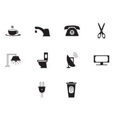 flat black utility icon set vector image vector image