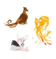 Flat cartoom myhical animals set vector
