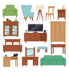 Furniture interior icons home design modern living vector