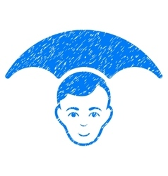 Head umbrella grainy texture icon vector