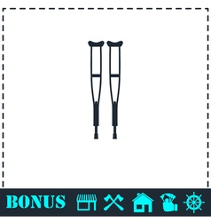 Health crutches icon flat vector