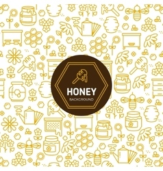 Honey wrapping background with bees and vector image