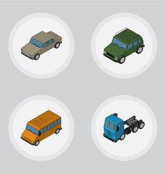 Isometric automobile set of armored autobus auto vector