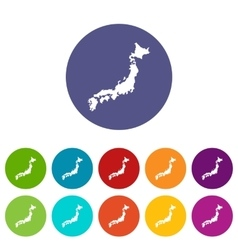 Map of japan set icons vector