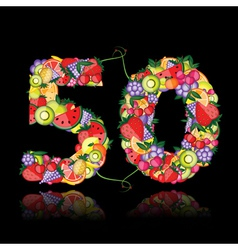 number fifty made from fruits vector image vector image