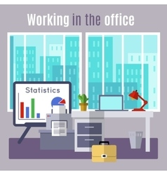 Office flat poster vector