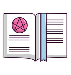 Old book with magic stars icon cartoon style vector