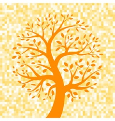 Orange tree icon on pixel background vector