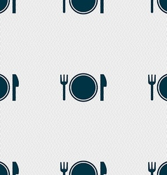 Plate icon sign Seamless pattern with geometric vector image vector image