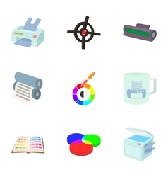 Printing services icons set cartoon style vector image