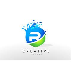 R letter logo blue green splash design vector