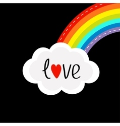 Rainbow on the corner and cloud in the sky Dash vector image vector image