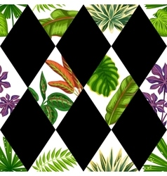 Seamless pattern with tropical plants and leaves vector image vector image