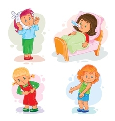 Set icons little girl sick vector image