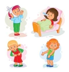 Set icons little girl sick vector image