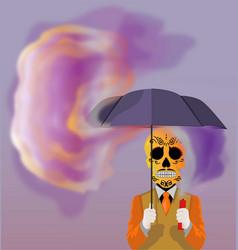Skull holding an umbrella vector
