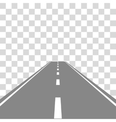 Straight road on transparent vector