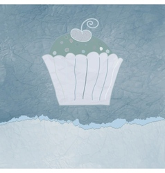 Vintage cupcake birthday card vector image