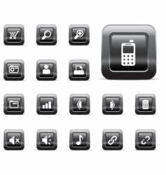 web icons black chrome vector image vector image