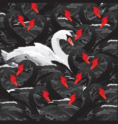 White swan in black family vector