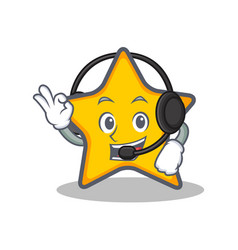With headphone star character cartoon style vector