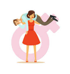 Woman in a red dress holding man on her shoulders vector