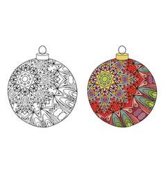 Zentangle stylized christmas decorations hand vector