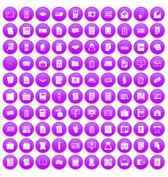 100 document icons set purple vector